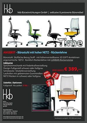 Angebot Bürostuhl mit hoher Netz Rückenlehne aus der Kollektion Büromöbel Time von der Firma HKB Büroeinrichtungen GmbH Husum