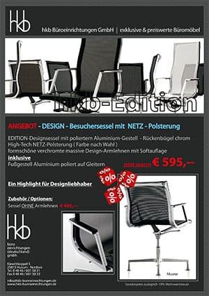 Angebot DESIGN Besuchersessel mit Netz Polsterung aus der Kollektion Chefsessel Edition von der Firma HKB Büroeinrichtungen GmbH Husum