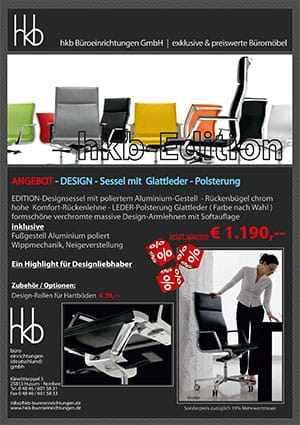 Angebot DESIGN Sessel Glattleder Polsterung aus der Kollektion Chefsessel Edition von der Firma HKB Büroeinrichtungen GmbH Husum