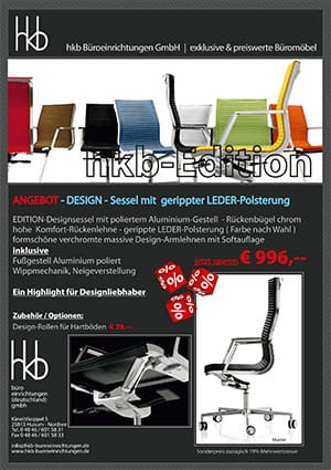 Angebot DESIGN Sessel gerippte Lederpolsterung aus der Kollektion Chefsessel Edition von der Firma HKB Büroeinrichtungen GmbH Husum