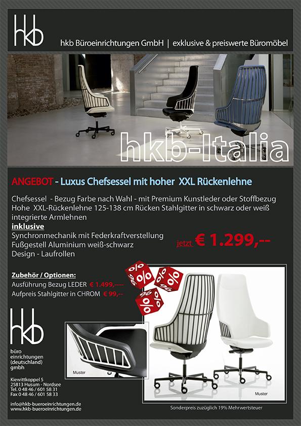Angebot Design Bürostuhl mit Netzgewebe Rückenlehne aus der Kollektion Büromöbel Italia von der Firma HKB Büroeinrichtungen GmbH Husum