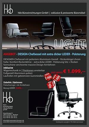 Angebot DESIGN Chefsessel mit extra dicker Leder Polsterung aus der Kollektion Chefsessel Light von der Firma HKB Büroeinrichtungen GmbH Husum