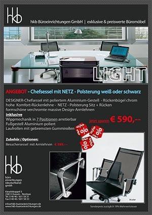 Angebot Chefsessel mit Netz Polsterung weiß oder schwarz aus der Kollektion Chefsessel Light von der Firma HKB Büroeinrichtungen GmbH Husum