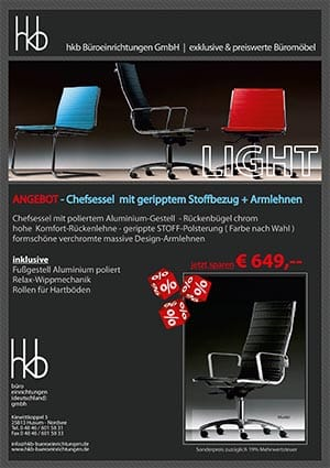 Angebot Chessel mit gerippten Stoffbezug + Armlehnen aus der Kollektion Chefsessel Light von der Firma HKB Büroeinrichtungen GmbH Husum