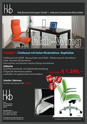Angebot Chefsessel mit hoher Rückenlehne Kopfstütze aus der Kollektion Chefsessel Wing von der Firma HKB Büroeinrichtungen GmbH Husum