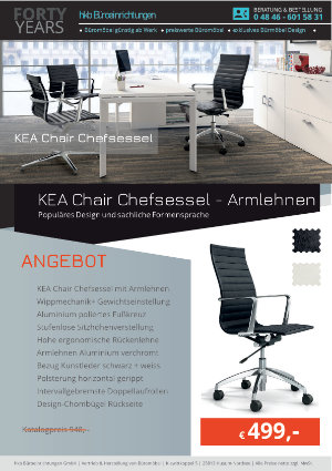 Angebot KEA Chair Chefsessel - Armlehnen aus der Kollektion Bürosessel KEA Chair von der Firma HKB Büroeinrichtungen GmbH Husum