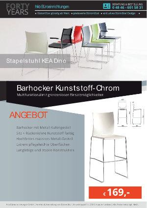 Angebot Barhocker Kunststoff-Chrom aus der Kollektion Stapelstühle KEA Dino von der Firma HKB Büroeinrichtungen GmbH Husum