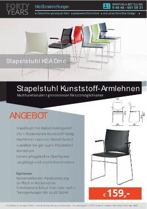 Angebot Stapelstuhl Kunststoff-Armlehnen aus der Kollektion Stapelstühle KEA Dino von der Firma HKB Büroeinrichtungen GmbH Husum