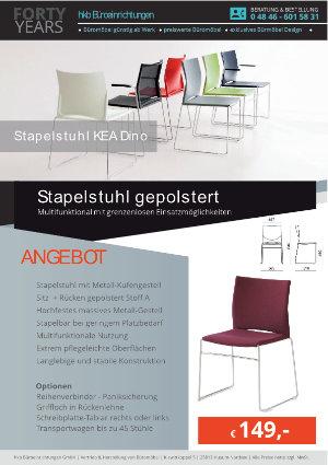 Angebot Stapelstuhl gepolstert aus der Kollektion Stapelstühle KEA Dino von der Firma HKB Büroeinrichtungen GmbH Husum