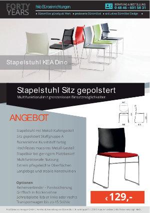 Angebot Stapelstuhl Sitz gepolstert aus der Kollektion Stapelstühle KEA Dino von der Firma HKB Büroeinrichtungen GmbH Husum