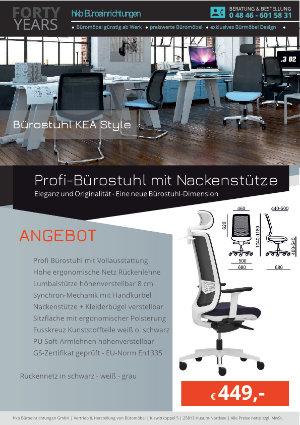 Angebot Profi-Bürostuhl mit Nackenstütze aus der Kollektion Büromöbel KEA Style von der Firma HKB Büroeinrichtungen GmbH Husum