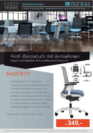 Angebot Profi-Bürostuhl mit Armlehnen aus der Kollektion Büromöbel KEA Style von der Firma HKB Büroeinrichtungen GmbH Husum