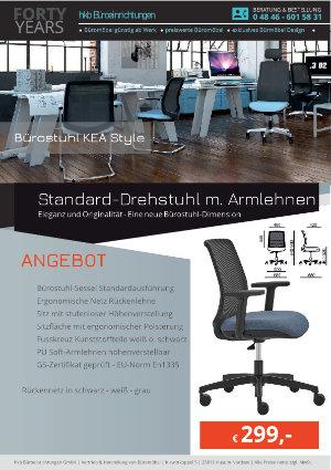 Angebot Standard-Drehstuhl m. Armlehnen aus der Kollektion Büromöbel KEA Style von der Firma HKB Büroeinrichtungen GmbH Husum