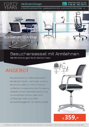 Angebot Besuchersessel mit Armlehnen aus der Kollektion Bürostühle KEA Vital von der Firma HKB Büroeinrichtungen GmbH Husum