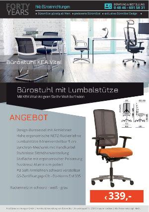 Angebot Bürostuhl mit Lumbalstütze aus der Kollektion Bürostühle KEA Vital von der Firma HKB Büroeinrichtungen GmbH Husum