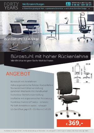 Angebot Bürostuhl mit hoher Rückenlehne aus der Kollektion Bürostühle KEA Vital von der Firma HKB Büroeinrichtungen GmbH Husum