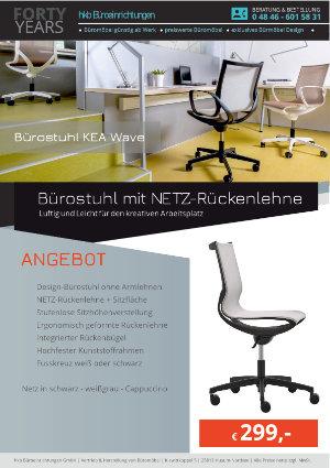 Angebot Bürostuhl mit NETZ-Rückenlehne aus der Kollektion Büromöbel KEA Wave von der Firma HKB Büroeinrichtungen GmbH Husum