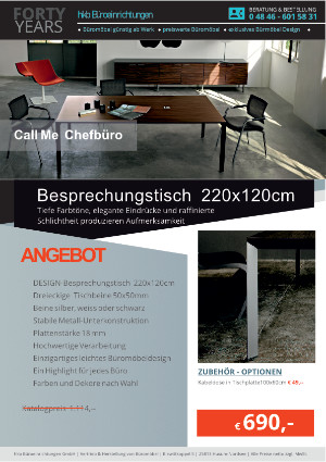 Angebot Besprechungstisch 220x120cm aus der Kollektion Büromöbel Call Me von der Firma HKB Büroeinrichtungen GmbH Husum