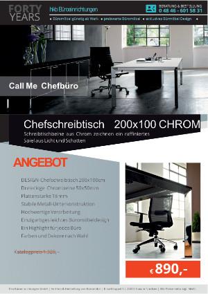 Angebot Chefschreibtisch 200x100 CHROM aus der Kollektion Büromöbel Call Me von der Firma HKB Büroeinrichtungen GmbH Husum