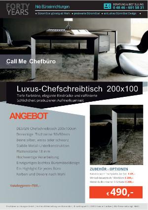 Angebot Luxus-Chefschreibtisch 200x100 aus der Kollektion Büromöbel Call Me von der Firma HKB Büroeinrichtungen GmbH Husum