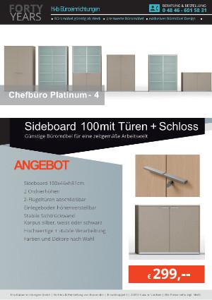 Angebot Sideboard 100 mit Türen + Schloss aus der Kollektion Büromöbel Platinum-4 von der Firma HKB Büroeinrichtungen GmbH Husum