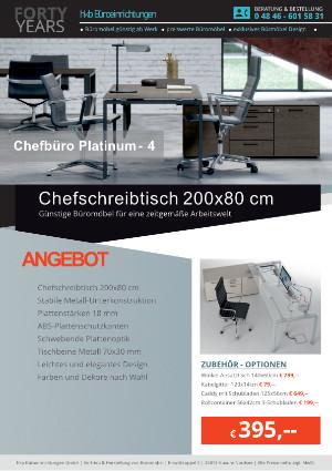 Angebot Chefschreibtisch 200x80 cm aus der Kollektion Büromöbel Platinum-4 von der Firma HKB Büroeinrichtungen GmbH Husum