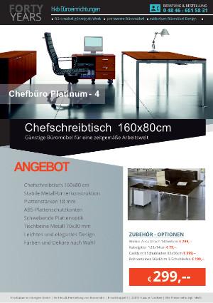 Angebot Chefschreibtisch 160x80 cm aus der Kollektion Büromöbel Platinum-4 von der Firma HKB Büroeinrichtungen GmbH Husum