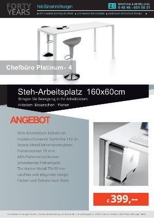 Angebot Steh-Arbeitsplatz 160x60 cm aus der Kollektion Büromöbel Platinum-4 von der Firma HKB Büroeinrichtungen GmbH Husum