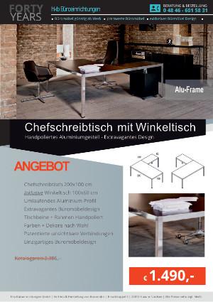 Angebot Schreibtisch Winkelkombination ALU-Frame von der Firma HKB Büroeinrichtungen GmbH Husum