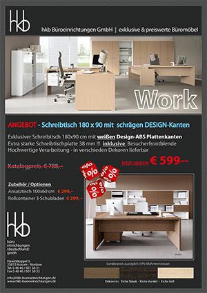 Angebot Büroschreibtisch 180 x 90 mit schrägen DESIGN-Kanten aus der Kollektion Büromöbel Work von der Firma HKB Büroeinrichtungen GmbH Husum