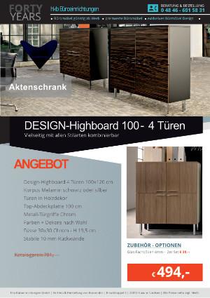 DESIGN-Highboard mit 4 Türen Breite 100 cm von der Firma HKB Büroeinrichtungen GmbH Husum