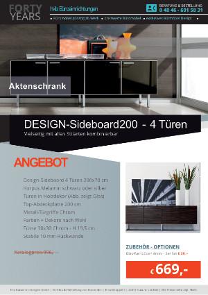 DESIGN-Sideboard mit 4 Türen - Breite 200 cm von der Firma HKB Büroeinrichtungen GmbH Husum