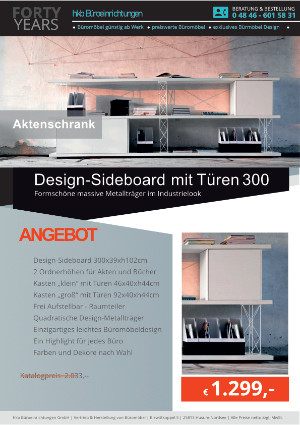 DESIGN-Sideboard mit Türen - Breite 300 cm von der Firma HKB Büroeinrichtungen GmbH Husum