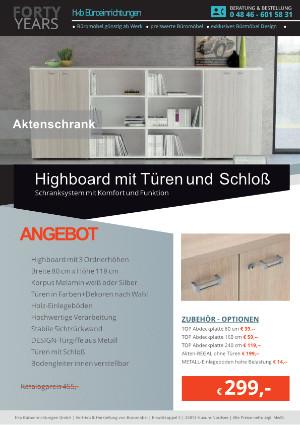 Highboard mit Türen und Schloß von der Firma HKB Büroeinrichtungen GmbH Husum
