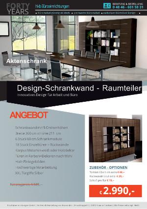 DESIGN-Schrankwand - Raumteiler von der Firma HKB Büroeinrichtungen GmbH Husum