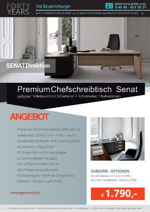 Angebot Büromöbel PREMIUM- Chefschreibtisch Senat aus der Kollektion Büromöbel Senat von der Firma HKB Büroeinrichtungen GmbH Husum