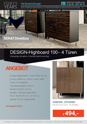 Angebot Design-Highboard 100 - 4 Türen aus der Kollektion Büromöbel Senat von der Firma HKB Büroeinrichtungen GmbH Husum