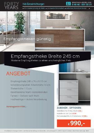 Empfangstheke Breite 245 cm Kollektion Empfangtheken günstig von der Firma HKB Büroeinrichtungen GmbH Husum