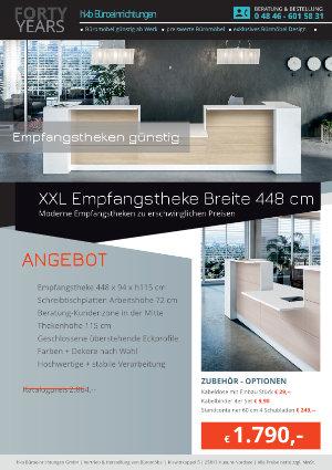 XXL Empfangstheke Breite 448 cm aus der Kollektion Empfang günstig von der Firma HKB Büroeinrichtungen GmbH Husum