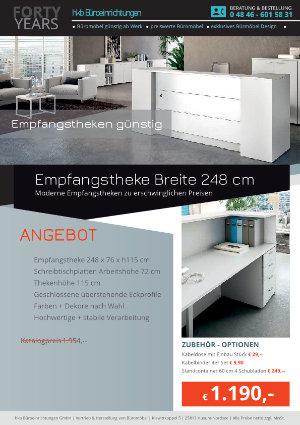Empfangstheke Breite 248 cm aus der Kollektion Empfang günstig von der Firma HKB Büroeinrichtungen GmbH Husum
