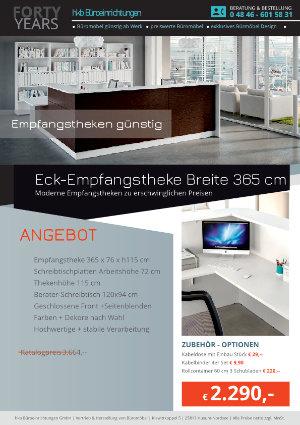 Eck-Empfangstheke Breite 365 cm aus der Kollektion Empfang günstig von der Firma HKB Büroeinrichtungen GmbH Husum
