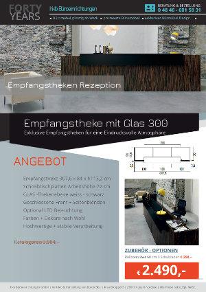 Empfangstheke mit Glas 300 aus der Kollektion Empfang eckig von der Firma HKB Büroeinrichtungen GmbH Husum