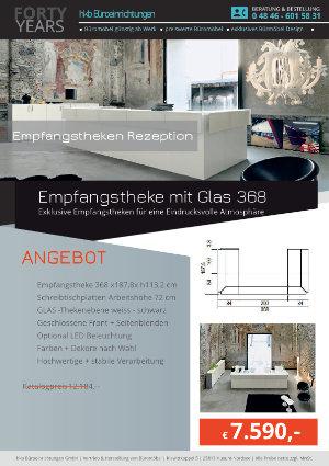 Empfangstheke mit Glas 368 aus der Kollektion Empfang eckig von der Firma HKB Büroeinrichtungen GmbH Husum