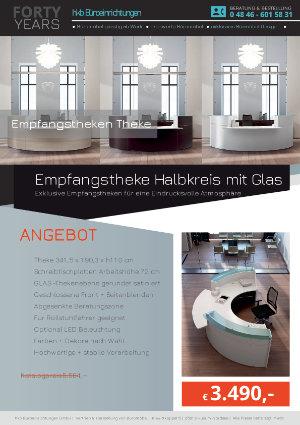Empfangstheke Halbkreis mit Glas der Kollektion Empfang gerundet von der Firma HKB Büroeinrichtungen GmbH Husum