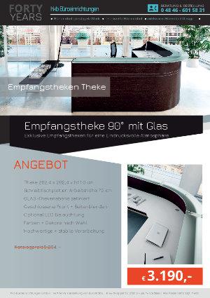 Empfangstheke 90° mit Glas aus der Kollektion Empfang gerundet von der Firma HKB Büroeinrichtungen GmbH Husum