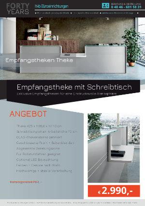 Empfangstheke mit Schreibtisch aus der Kollektion Empfang gerundet von der Firma HKB Büroeinrichtungen GmbH Husum