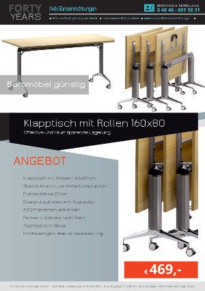 Angebot Klapptisch mit Rollen 160x80 aus der Kollektion Büromöbel günstig von der Firma HKB Büroeinrichtungen GmbH Husum