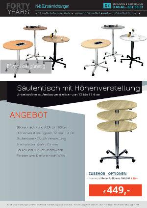 Angebot Säulentisch mit Höhenverstellung aus der Kollektion Büromöbel günstig von der Firma HKB Büroeinrichtungen GmbH Husum