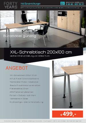 Angebot XXL-Schreibtisch 200x100 cm aus der Kollektion Büromöbel günstig von der Firma HKB Büroeinrichtungen GmbH Husum
