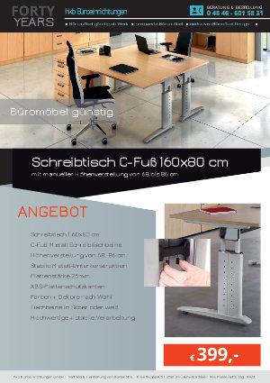 Angebot Schreibtisch C-Fuß 160x80 cm aus der Kollektion Büromöbel günstig von der Firma HKB Büroeinrichtungen GmbH Husum